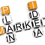 3D Market Plan Idea Crossword on white background